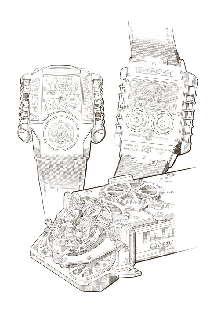 Christophe Claret X-trem-1 watch, design artwork by Julien Bonzom