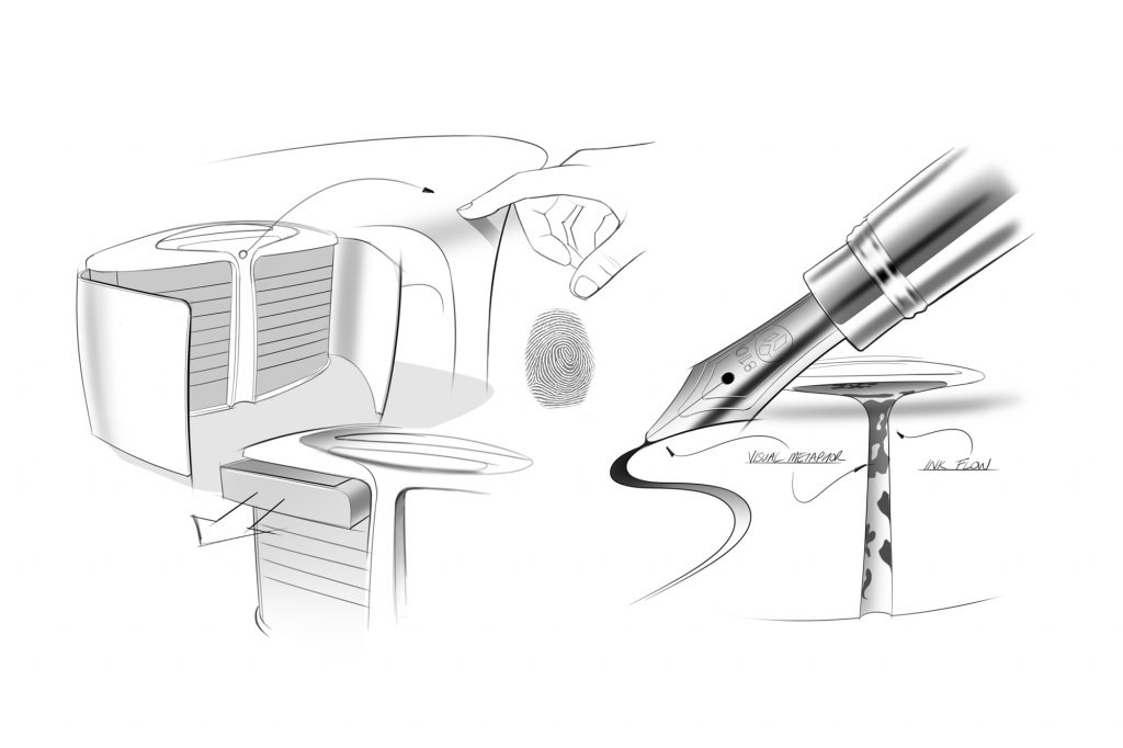 Fluidité pen collector's cabinet , design by Julien Bonzom - inspiration sketches