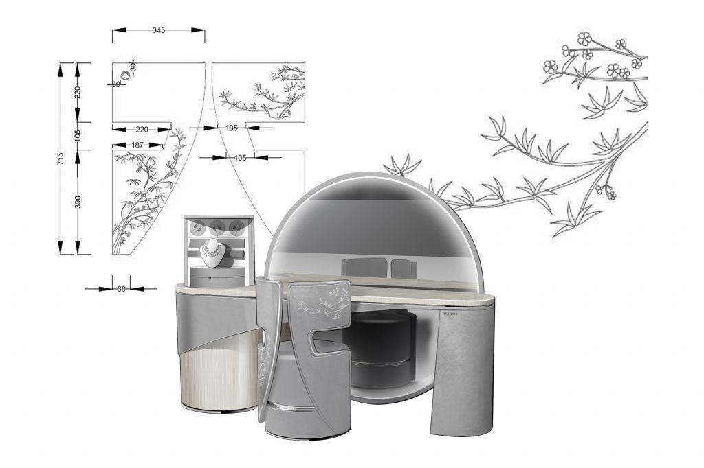 Sakura dressing chair, product design, technical drawing by Julien Bonzom