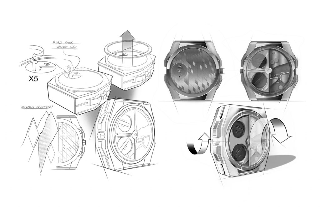 design process, form and function study and sketches of a watch winder/clock