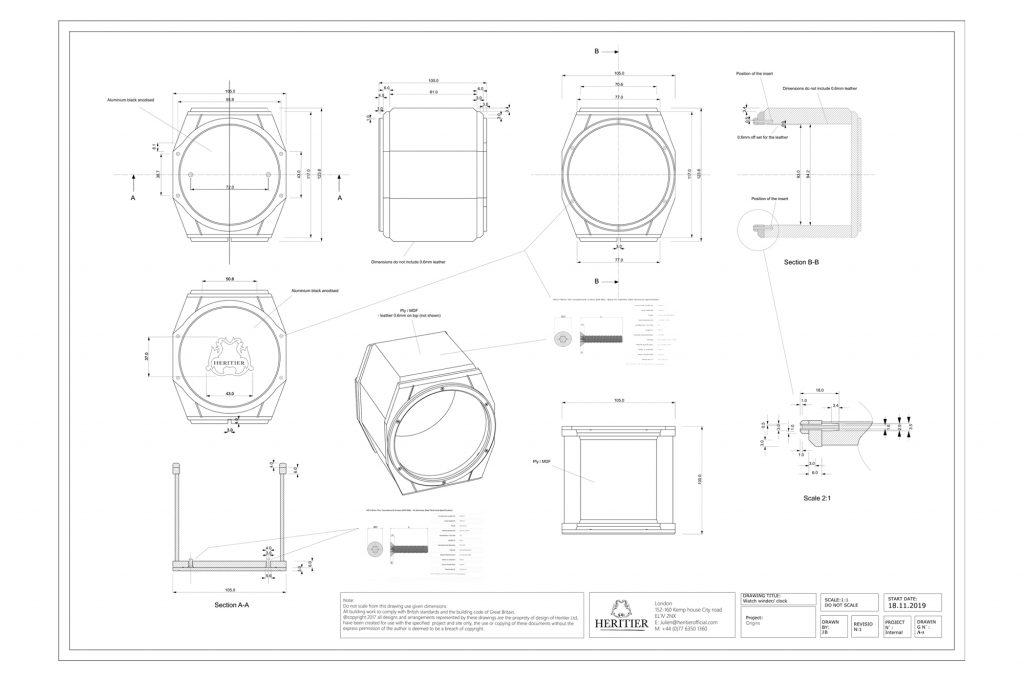 Origins single watch winder technical drawing